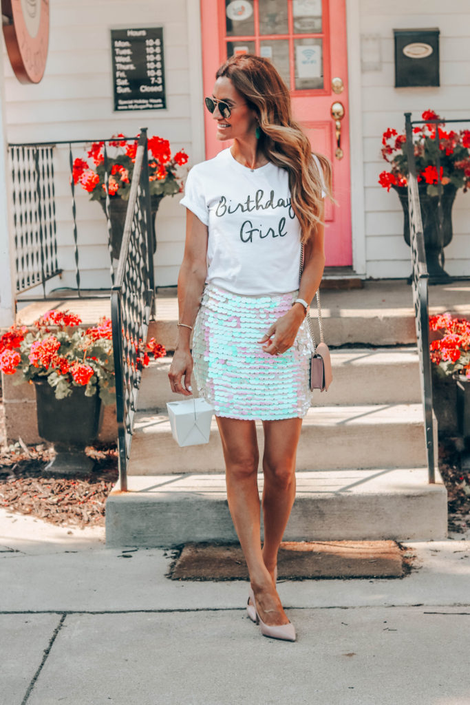 Karina Reske birthday girl - Summer Graphic Tees + Life Update featured by popular Indianapolis style blogger, Karina Style Diaries