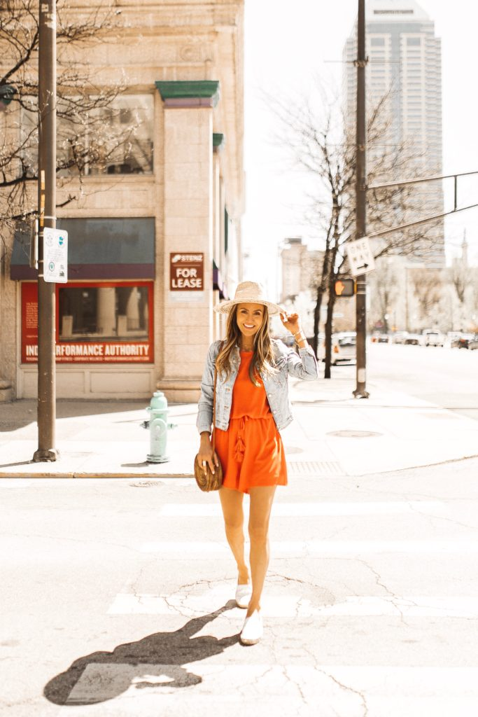 Red romper and jean jacket