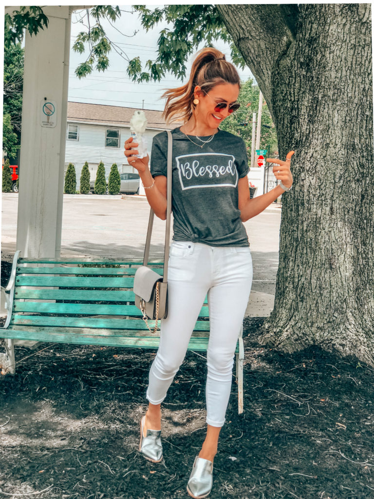 Blessed graphic tee karina style diaries - Summer Graphic Tees + Life Update featured by popular Indianapolis style blogger, Karina Style Diaries