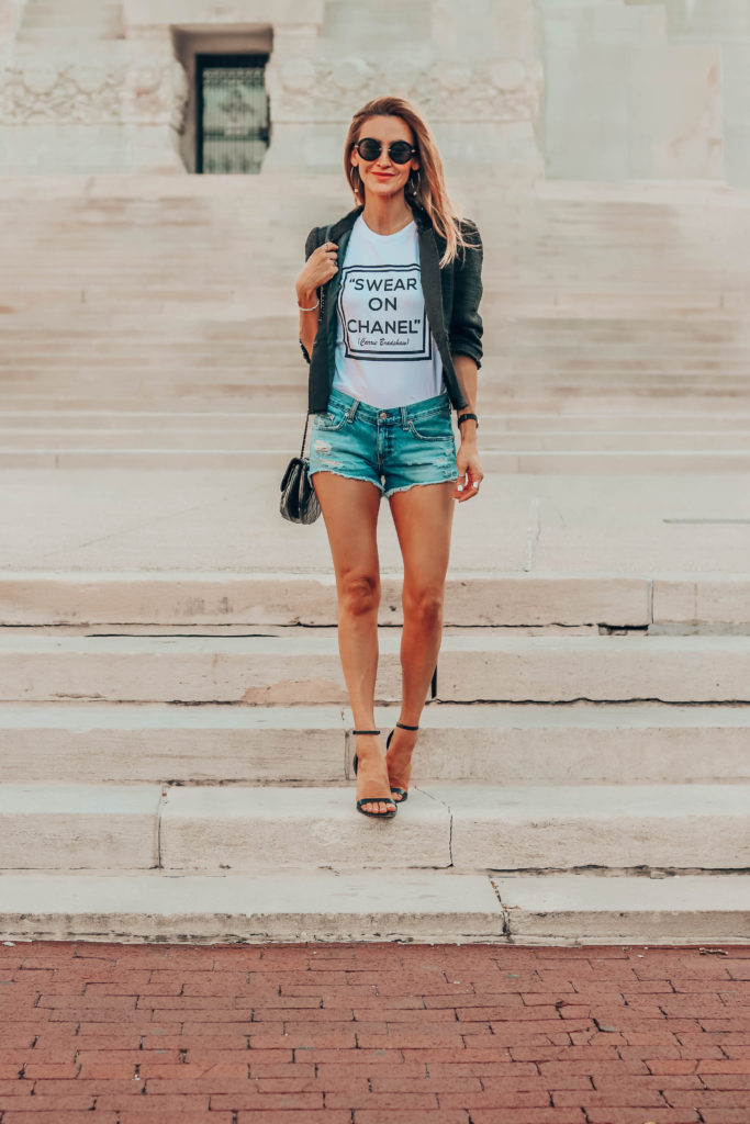 Swear on chanel graphic tee - Summer Graphic Tees + Life Update featured by popular Indianapolis style blogger, Karina Style Diaries