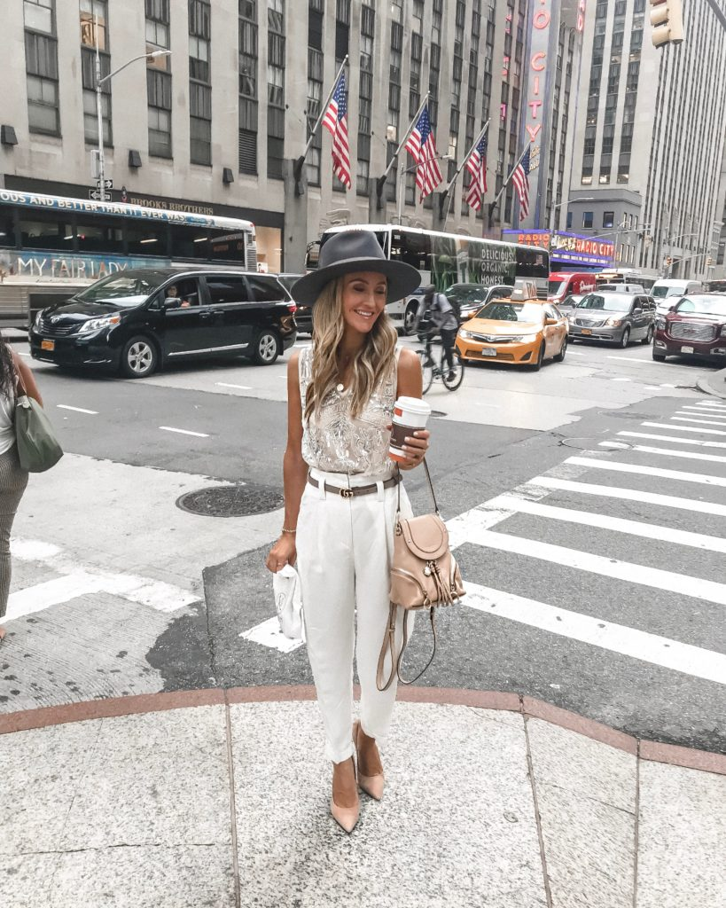 NYFW dress pant, embellished top look| NYFW Day 3 featured by popular Indianapolis fashion blogger, Karina Style Diaries: Maison Kayser USA