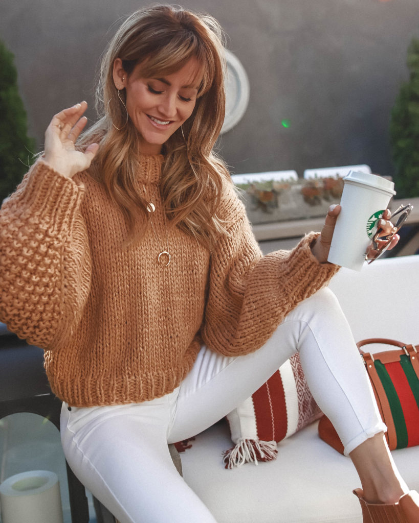 | Chicwish camel sweater styled for Fall by top Indianapolis fashion blog, Karina Style Diaries