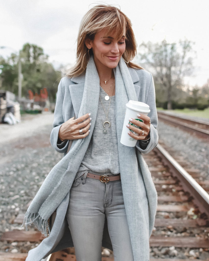 grey monochromatic look | H&M Grey Sweater styled by popular Indianapolis fashion blog, Karina Style Diaries
