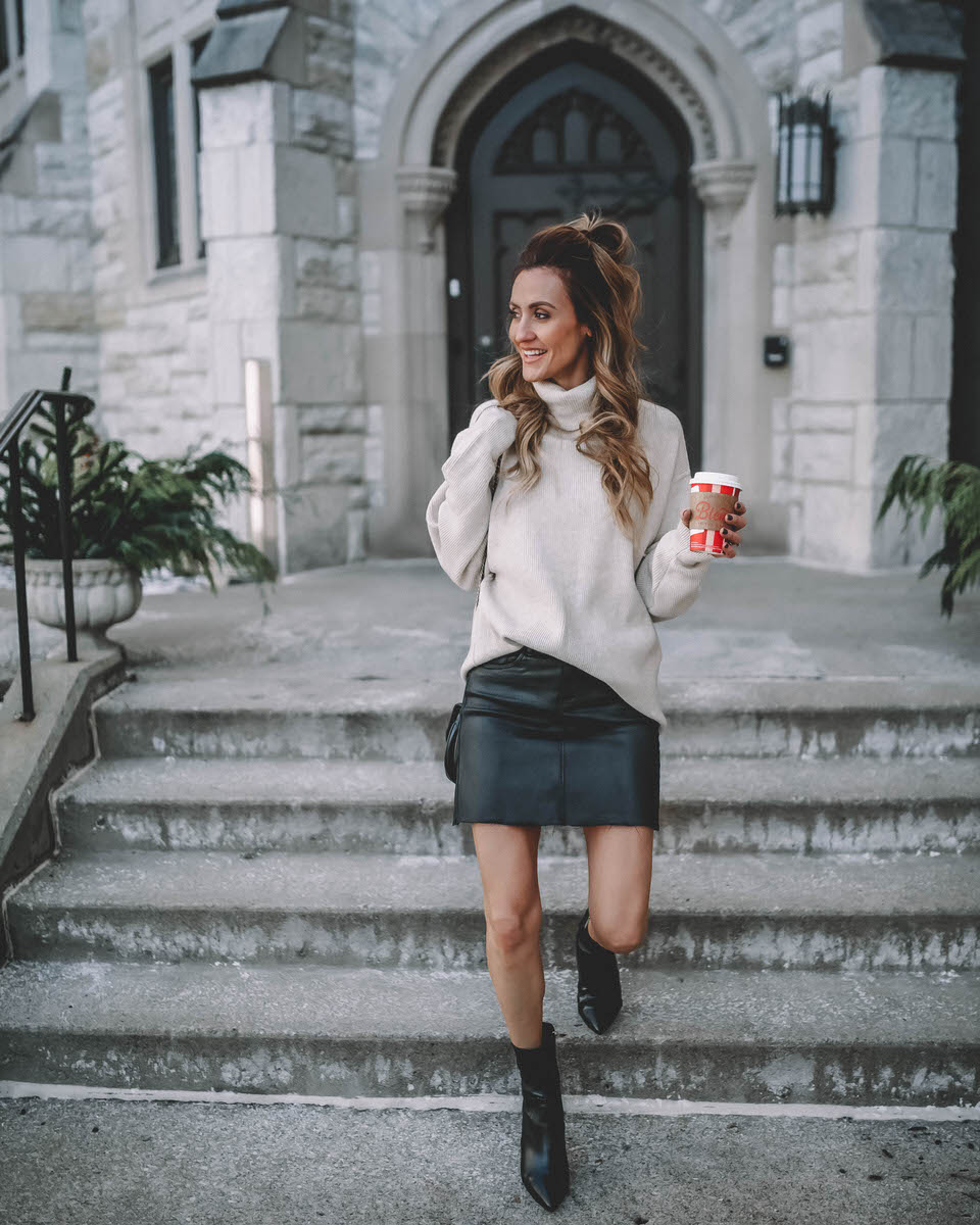 Evereve coated skirt and free people tunic| Casual Winter Looks featured by top Indianapolis fashion blogger, Karina Style Diaries