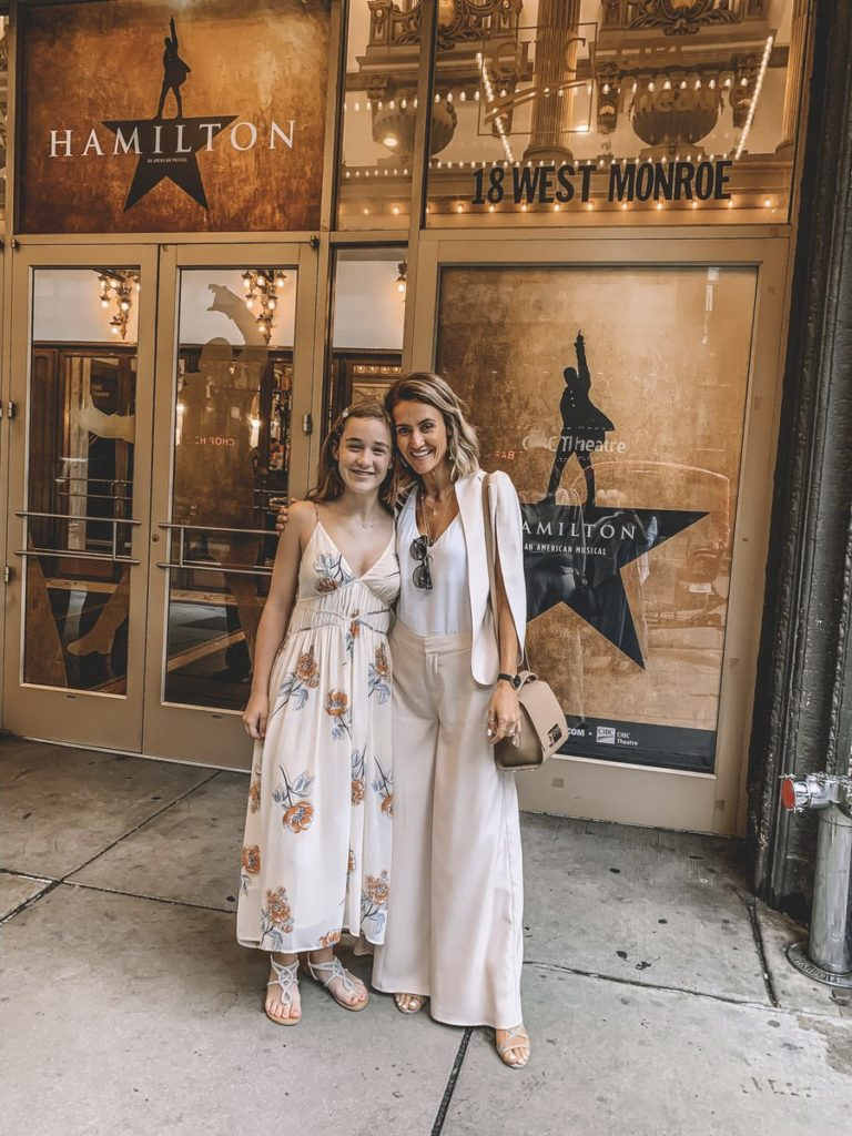 Karina Reske with daugther Bella in Chicago to see Hamilton