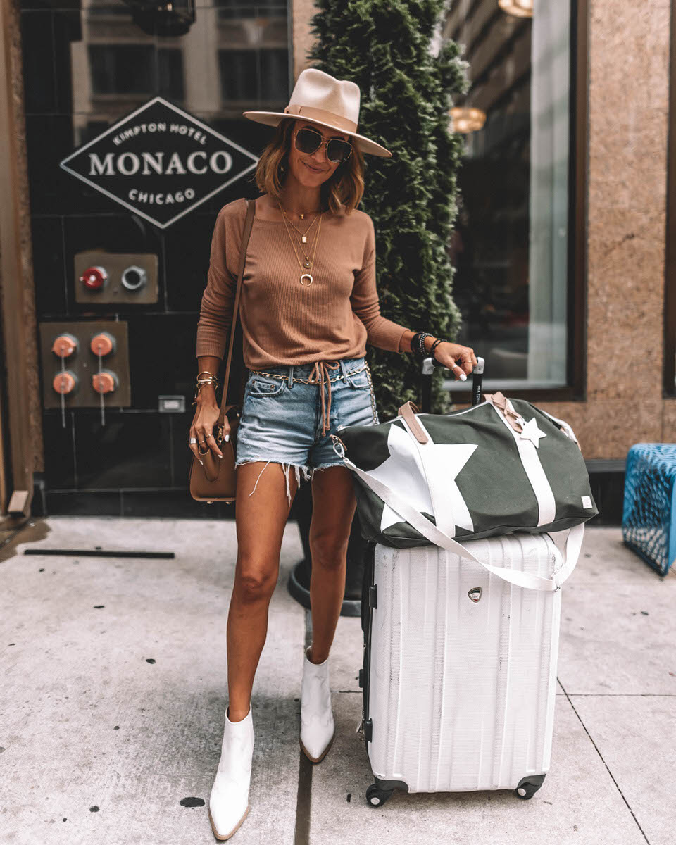 Fashion Blogger Karina Style Diaries wears GRLFRND shorts white western booties ivory rancher hat tan long sleeve cotton tee walmart star duffle bag
