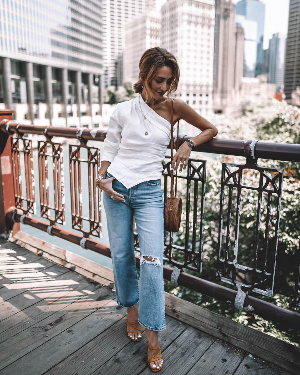 Karina Style Diaries in Chicago wearing white one shoulder zara top levi's ribcage jeans and yellow sandal heels