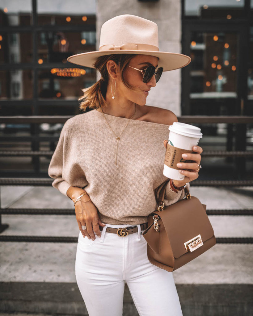 Karina Style Diaries wearing white skinny jeans chic outfit idea lack of color rancher hat suqre sunglasses zac posen eartha bag off the shoulder sweater gucci princetown bumble bee loafers