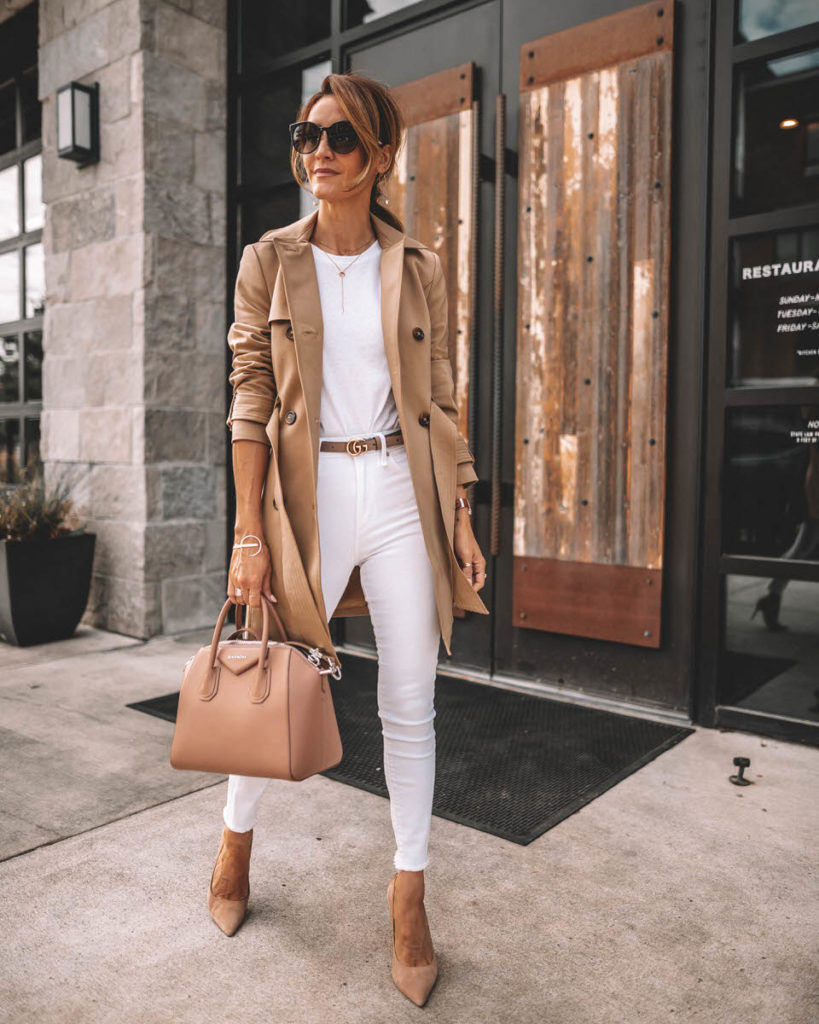 Karina Style Diaries all white look tan trench coat outfit givenchy antigona blush small
