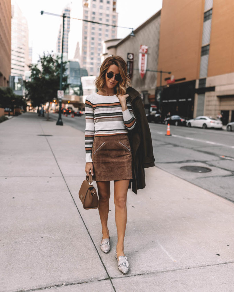 Karina Style Diaries fall outfit suede mini skirt stripped sweater snakeskin loafers olive green trench coat