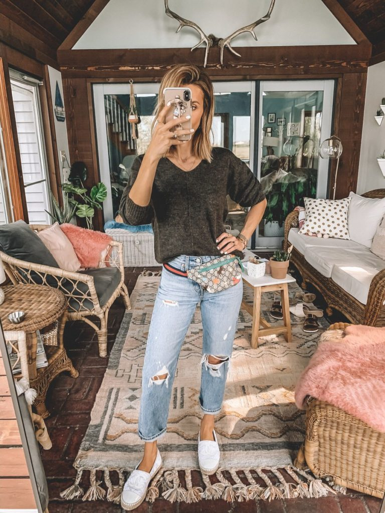 Karina Style Diaries wearing v-neck soft wool brown sweater levis wedgie gucci belt bag chanel white espardrilles outfit