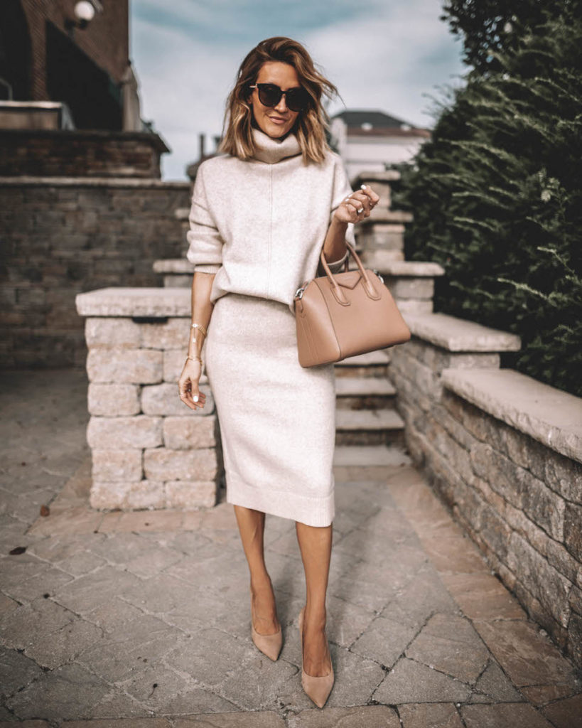 Karina Style Diaries wearing cream skirt sweater set givenchy antigona small old pink nude pumps workwear outfit