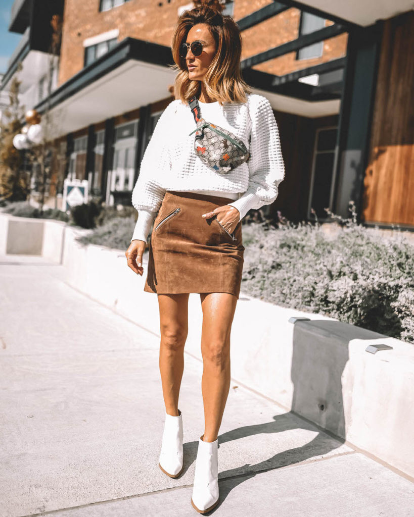 Western booties sweater mini suede skirt fall style