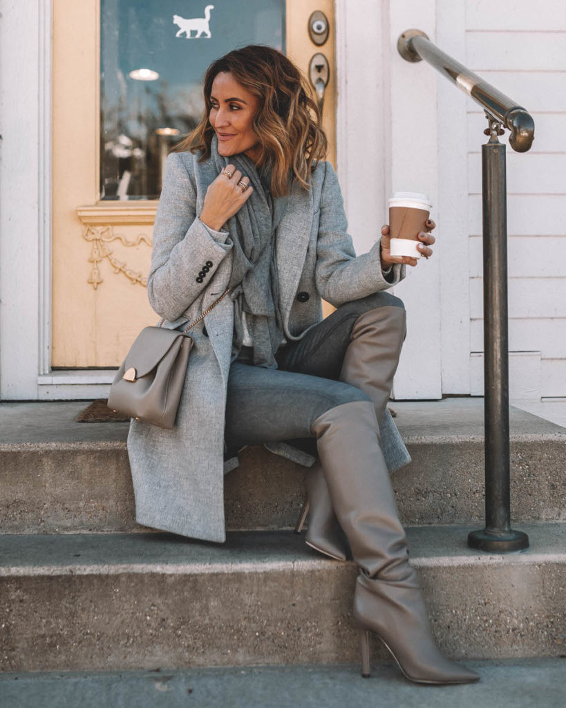 Karina Style Diaries wearing Grey monochromatic fall outfit