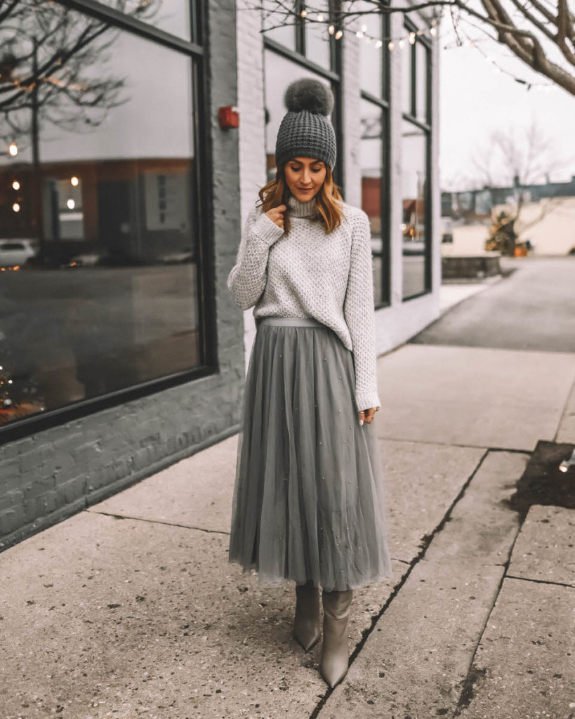 Karina Style Diaries all grey outfit tulle maxi grey skirt turtleneck pompom hat