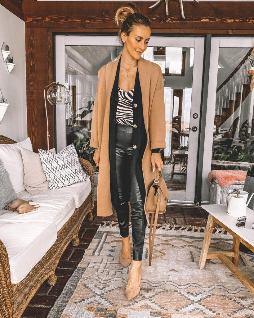 leather leggings zebra printed cami black cardi layered look