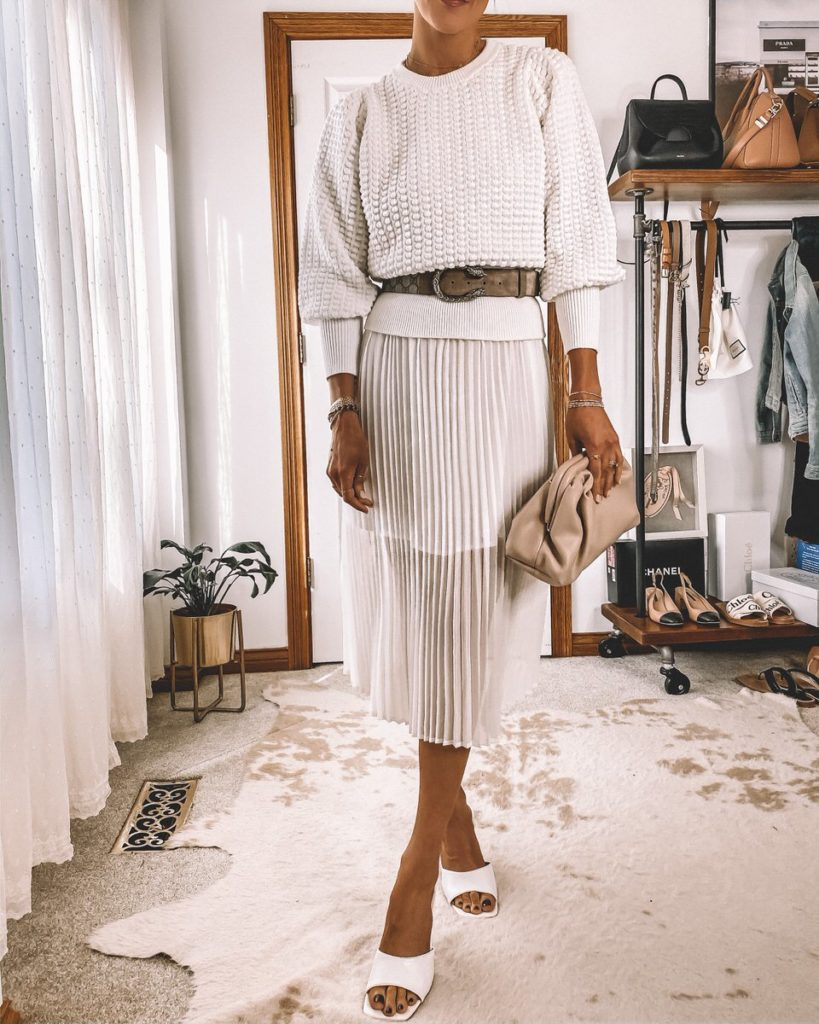 Karina style diaries pleated white dress all white outfit