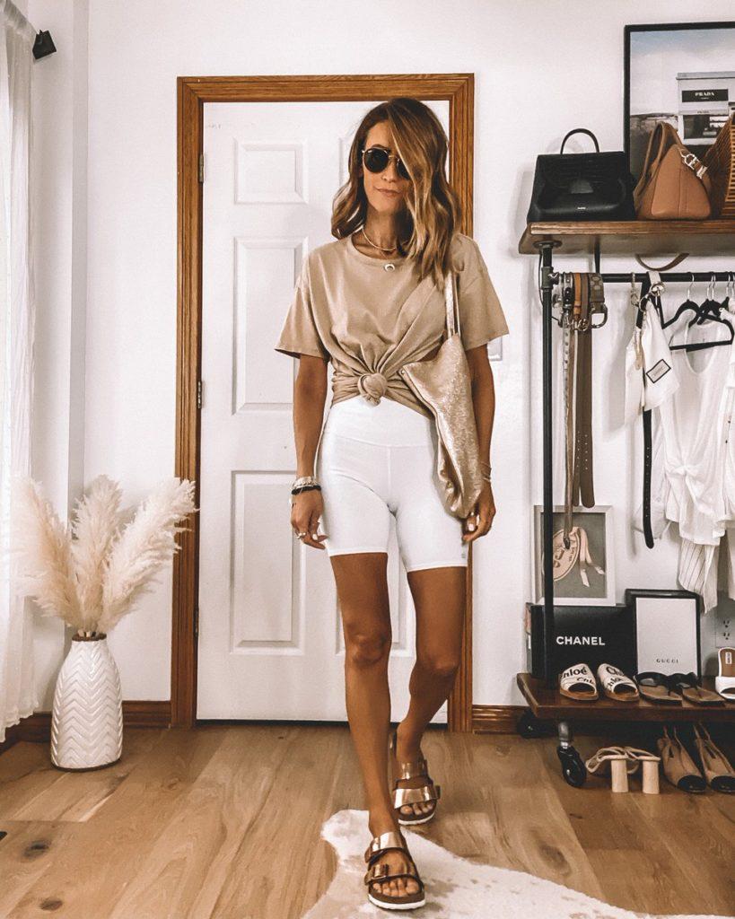 white biker shorts tan oversized tee summer style