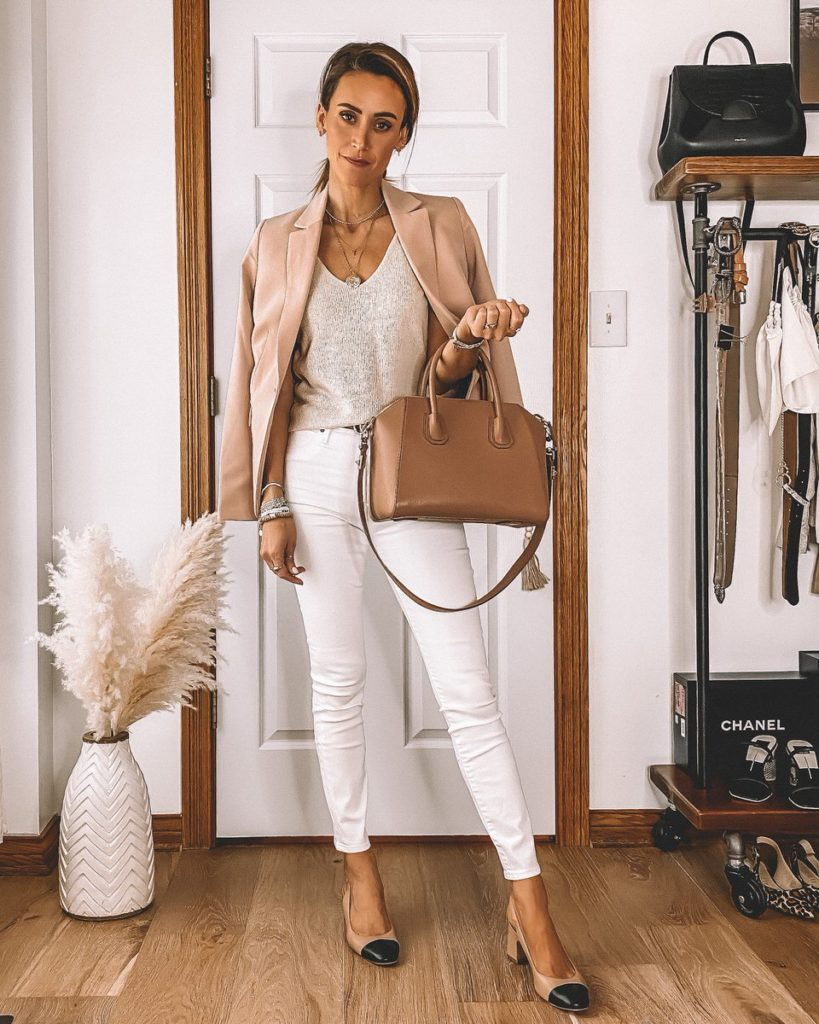 Business chic style white jeans taupe knit tank nude blazer givenchy antigona bag