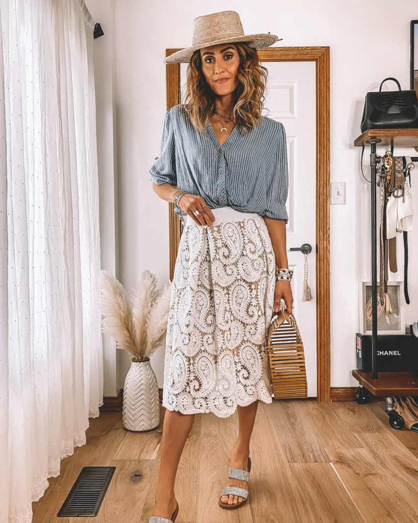 White lace skirt blue stripped shirt bamboo bag straw hat summer style