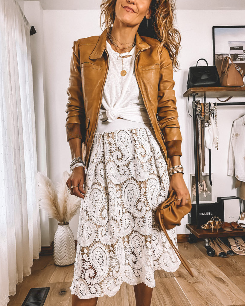 white lace skirt leather tan jacket distressed tee