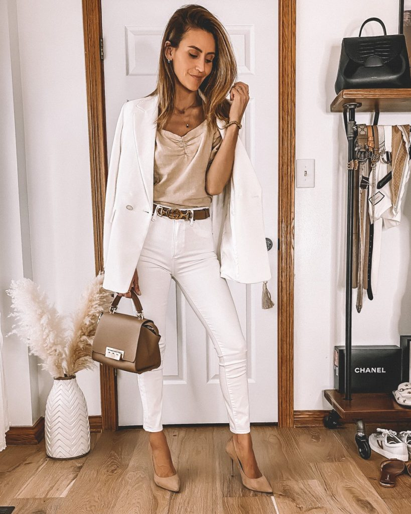 Karina Style Diaries wearing neutral summer outfit white blazer and white skinny jeans look