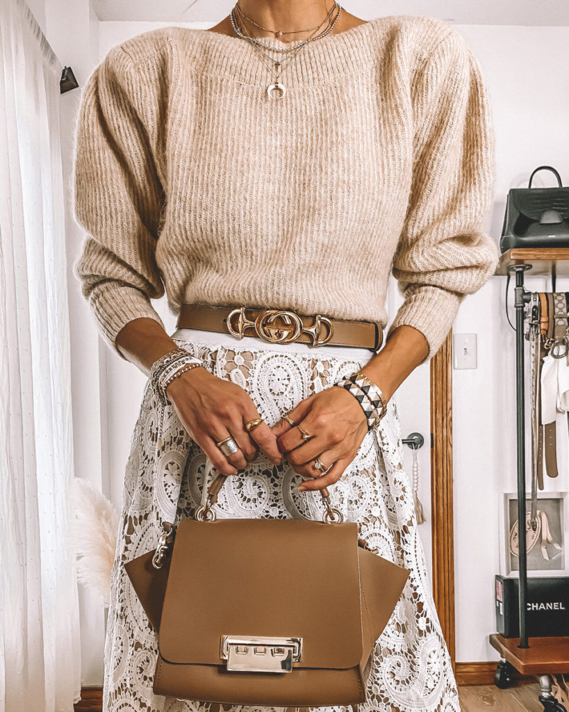 Karina Style Diaries Jewelry gucci belt lace skirt outfit