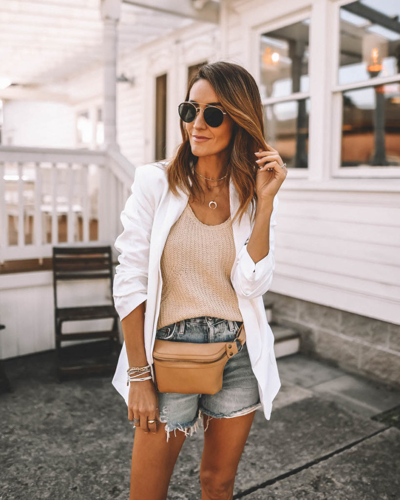Tan knit tank white blazer outfit summer neutral style