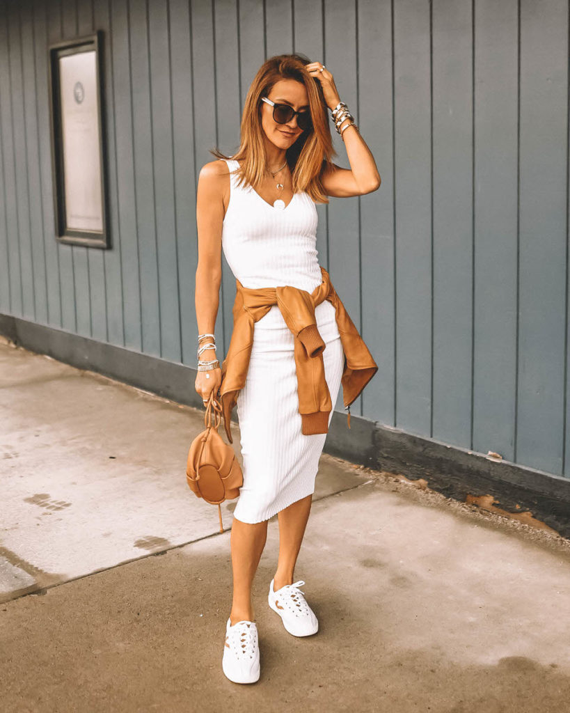 Karina Style Diaries white rib knit midi dress outfit  tan leather jacket spring style