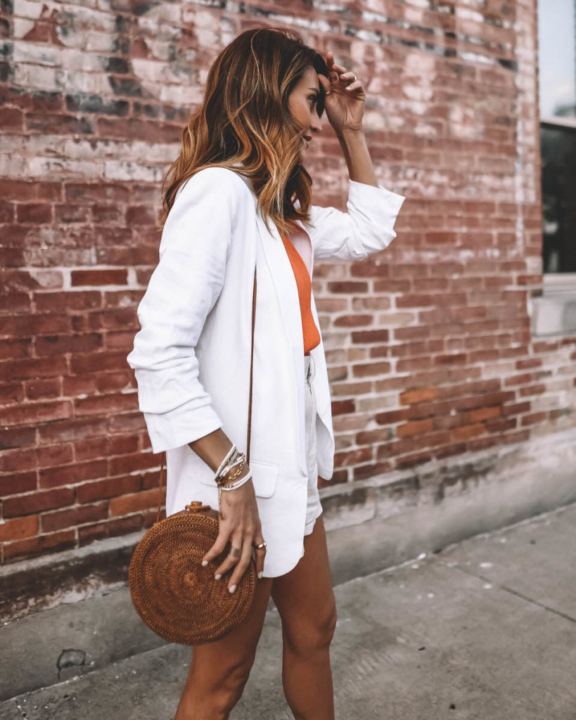 white outfit with pop of color summer style