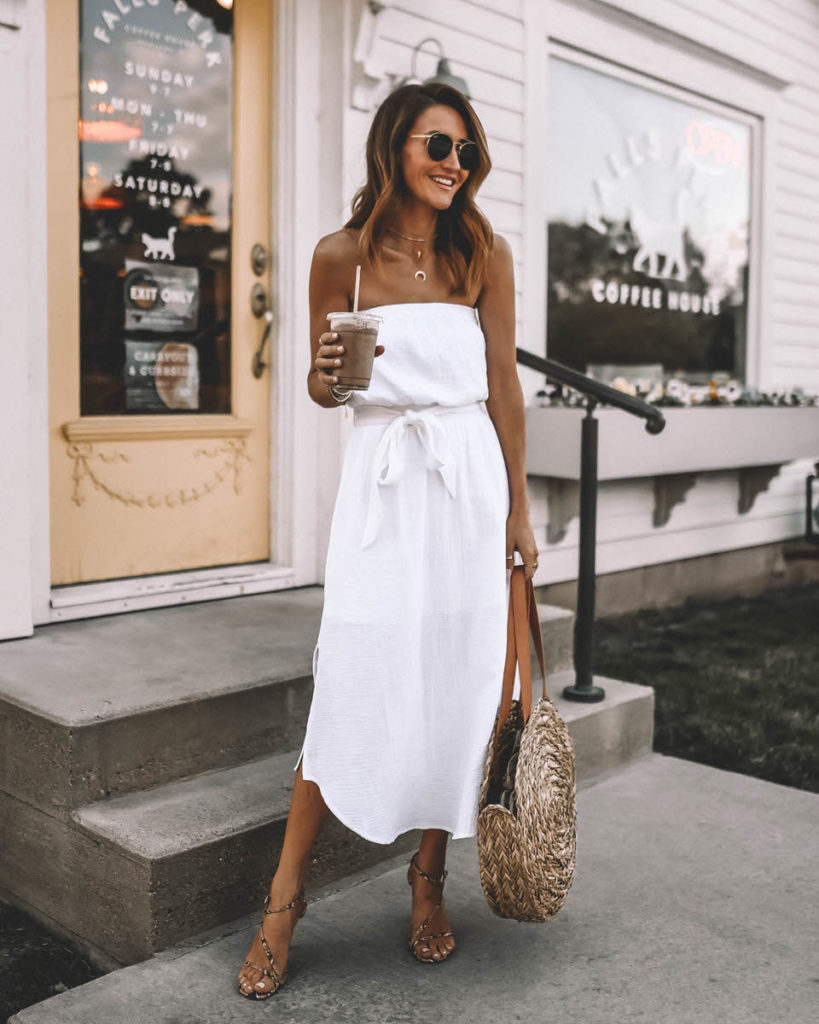 Karina Style Diaries wearinf summer staple white strapless dress outfit