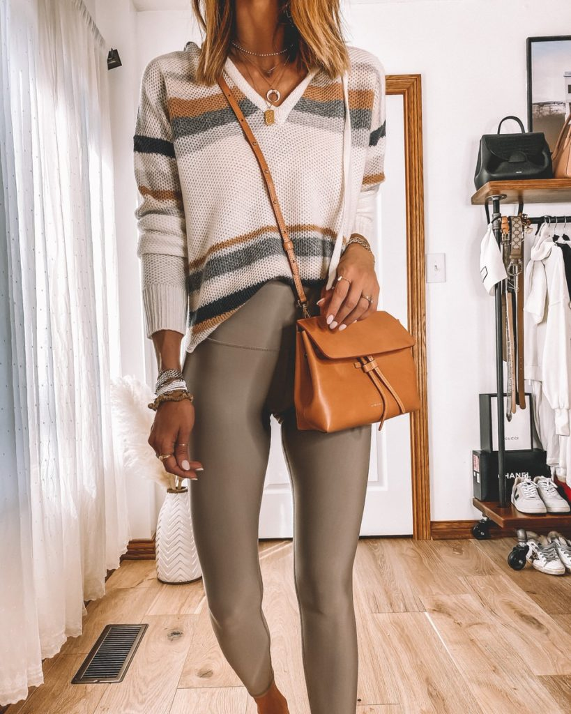 workout leggings styled with cashmere hoodie mini mini lady bag gucci loafers athleisure wear outfit