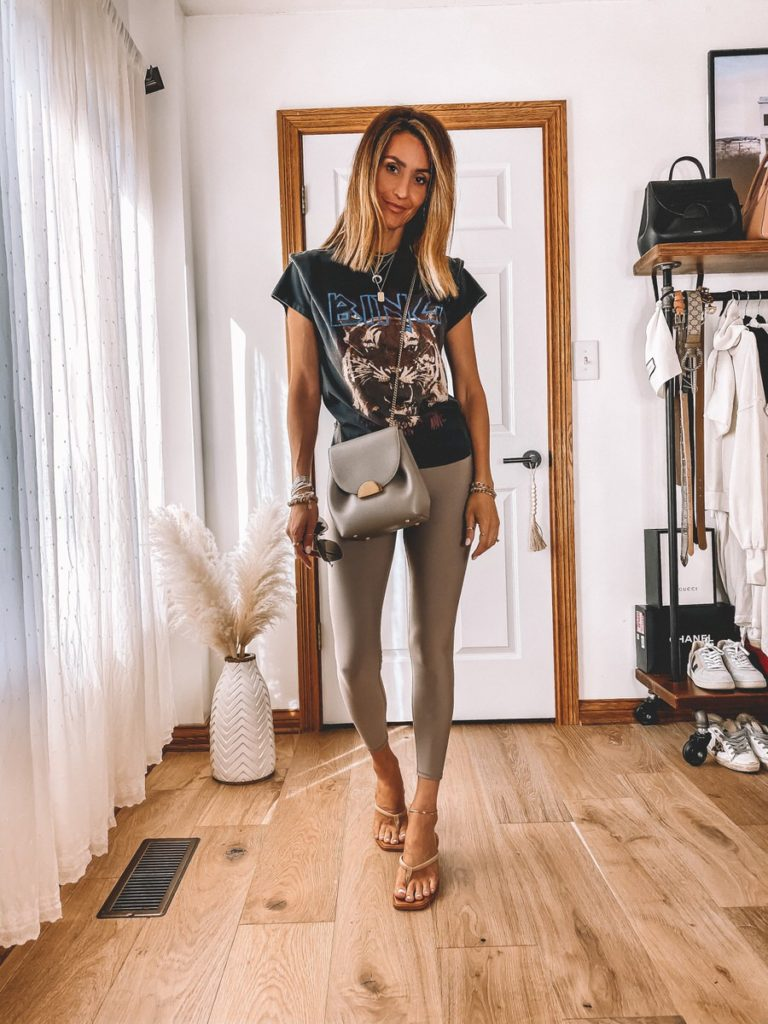 leggings styled with anine bing tiger tee polene bag alohas sandals casual style