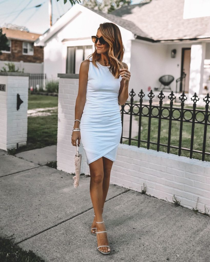 White ruched dress outfit