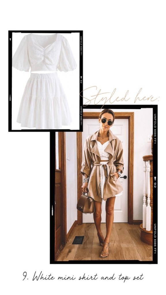 white skirt set trench coat outfit summer style
