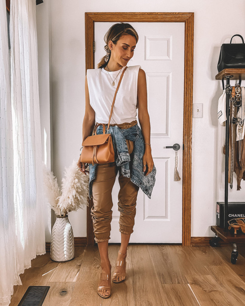 Vegan Leather tan joggers outfit padded shoulder muscle tee denim jacket mini mini lady bag mansur gavriel street style