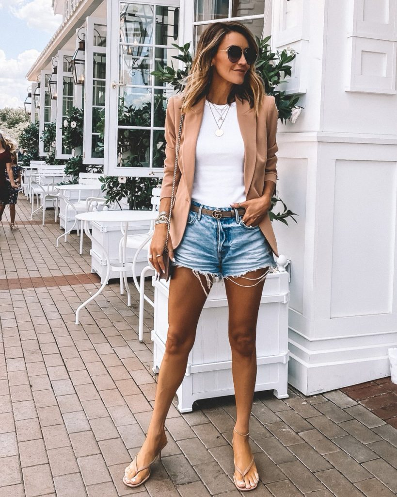 Karina Style Diaries wearing L'agence nude blazer jeans shorts nsale style