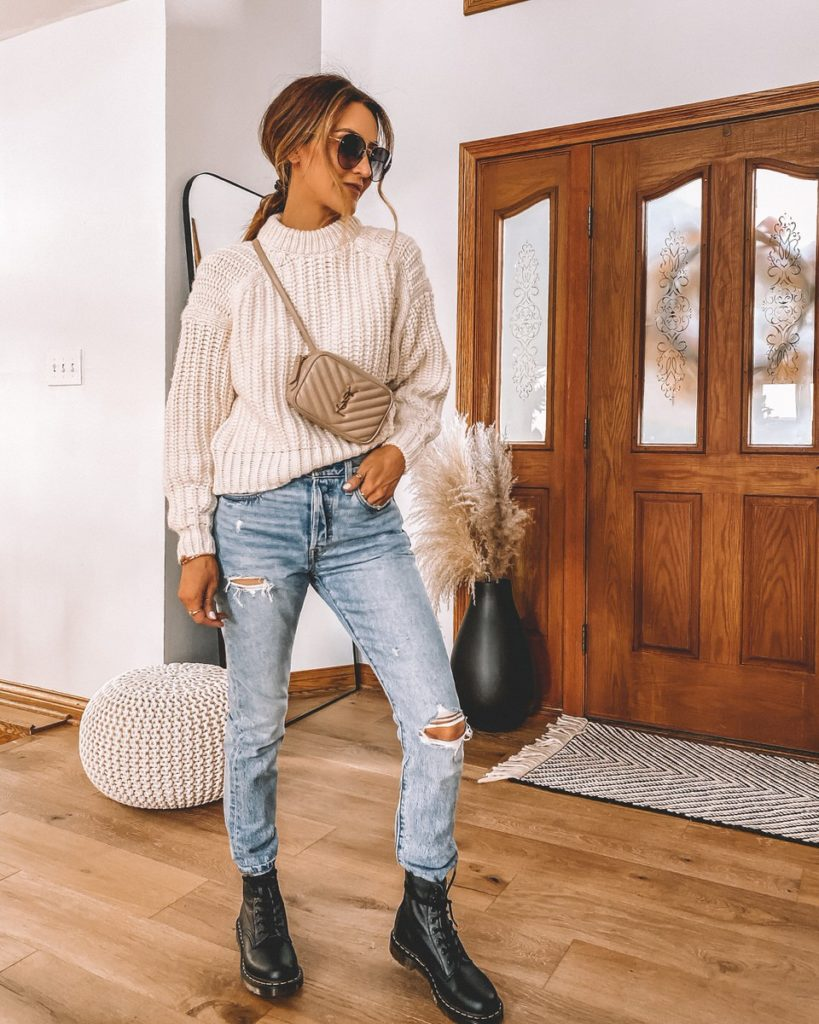 5 ideas to style combat boots cable knit sweater levis 501 skinny jeans combat boots fall style