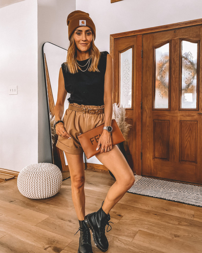 5 ideas to style combat boots padded tank top vegan leather shorts fendi bag combat boots fall style