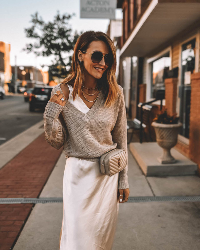 Satin slip dress outfit slouchy sweater YSL Lou mini belt bag neutral style