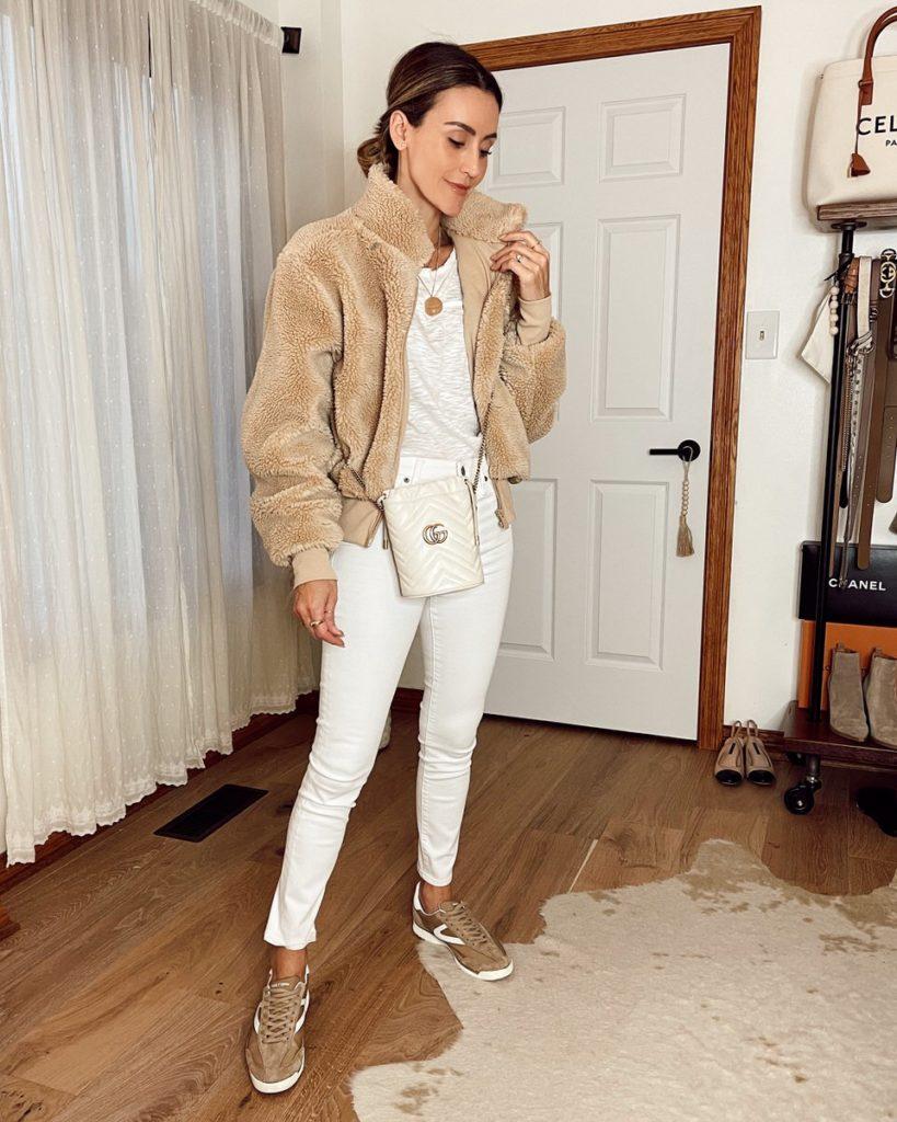 Karina Style Diaries wearing aloyoga sherpa high rise skinny jeans verishop essential shirt gucci bag fall style