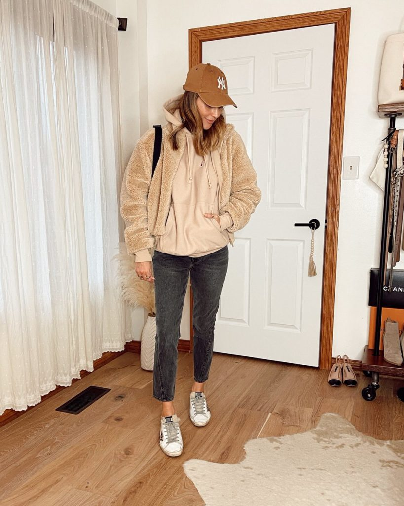 Karina Style Diaries wearing aloyoga sherpa high rise jeans golden goose sneakers champion hoodies fall style