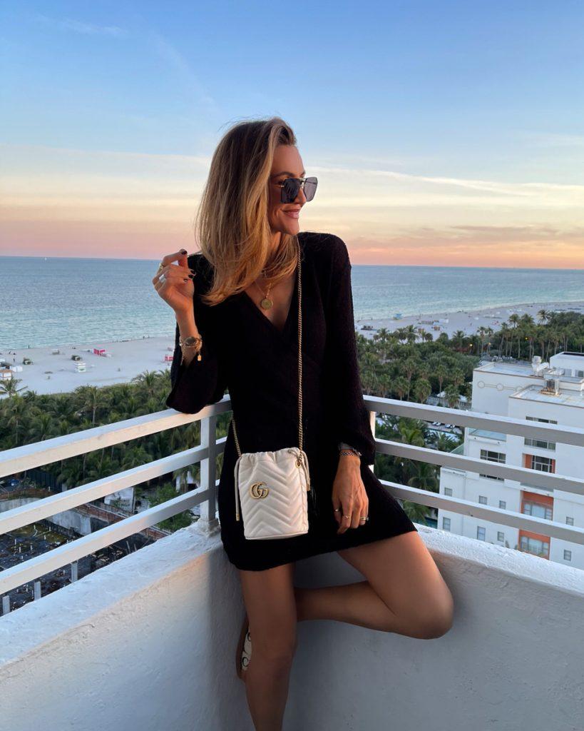 Karina Style Diaries Miami outfits, L'space Topanga black dress long sleeve