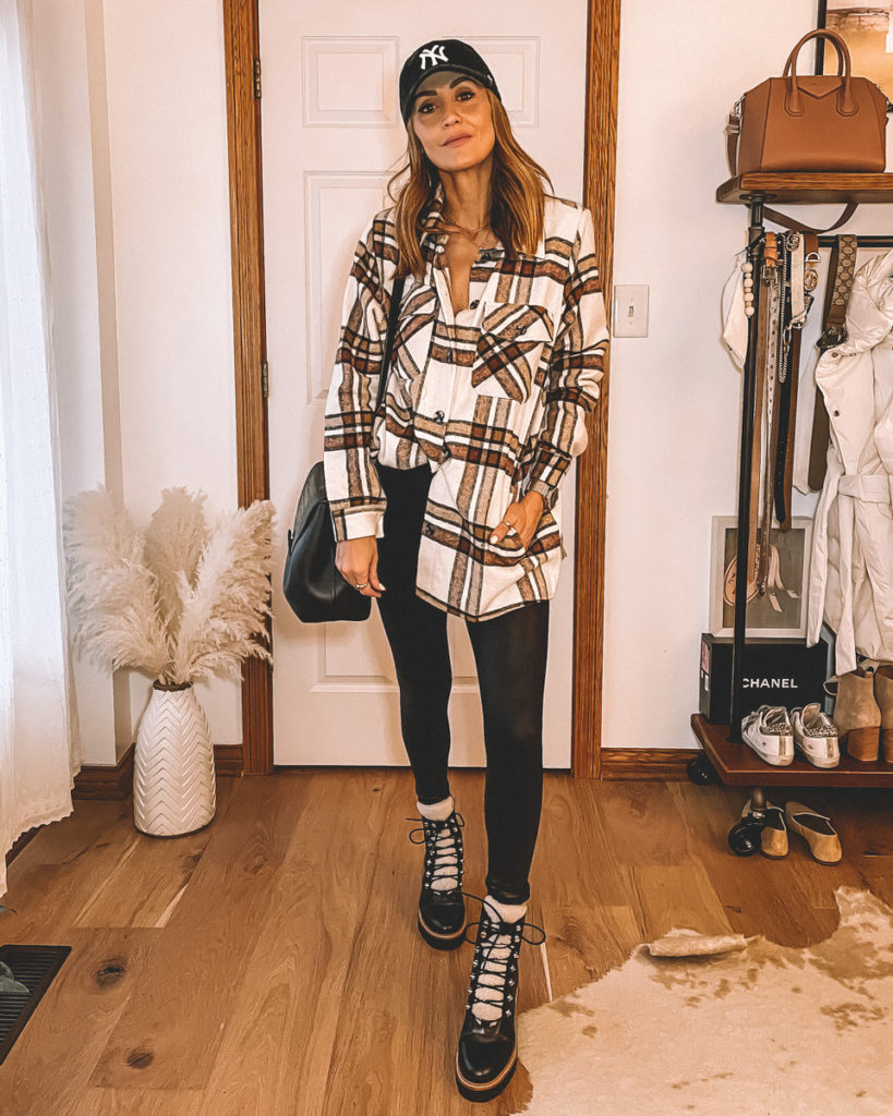 Karina Style Diaries wearing plaid jacket spanx leggings shearling boots NY cap neutral style