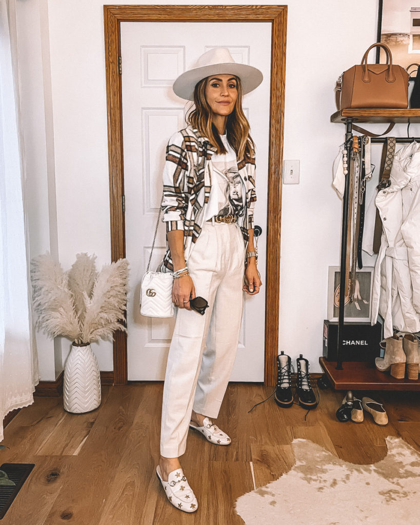 Karina Style Diaries wearing anine shirt plaid jacket dress pants gucci slippers gucci bag neutral style
