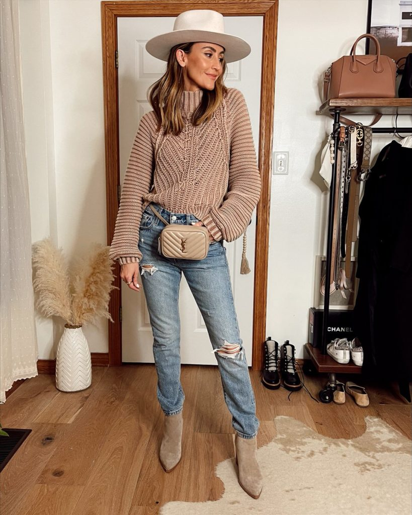Karina Style Diaries wearing free people sweater abercrombie fitch jeans suede booties urban outfitters hat winter neutral style