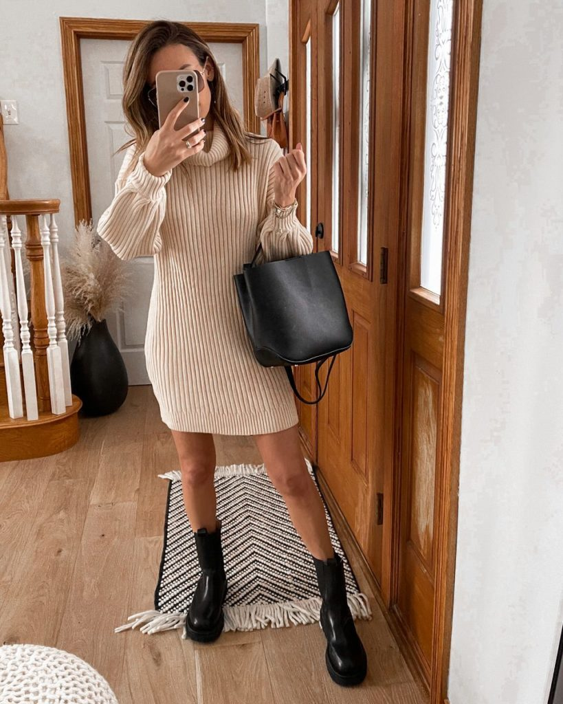 Sweater dress, cross body bag, sunnies, lug boot outfit