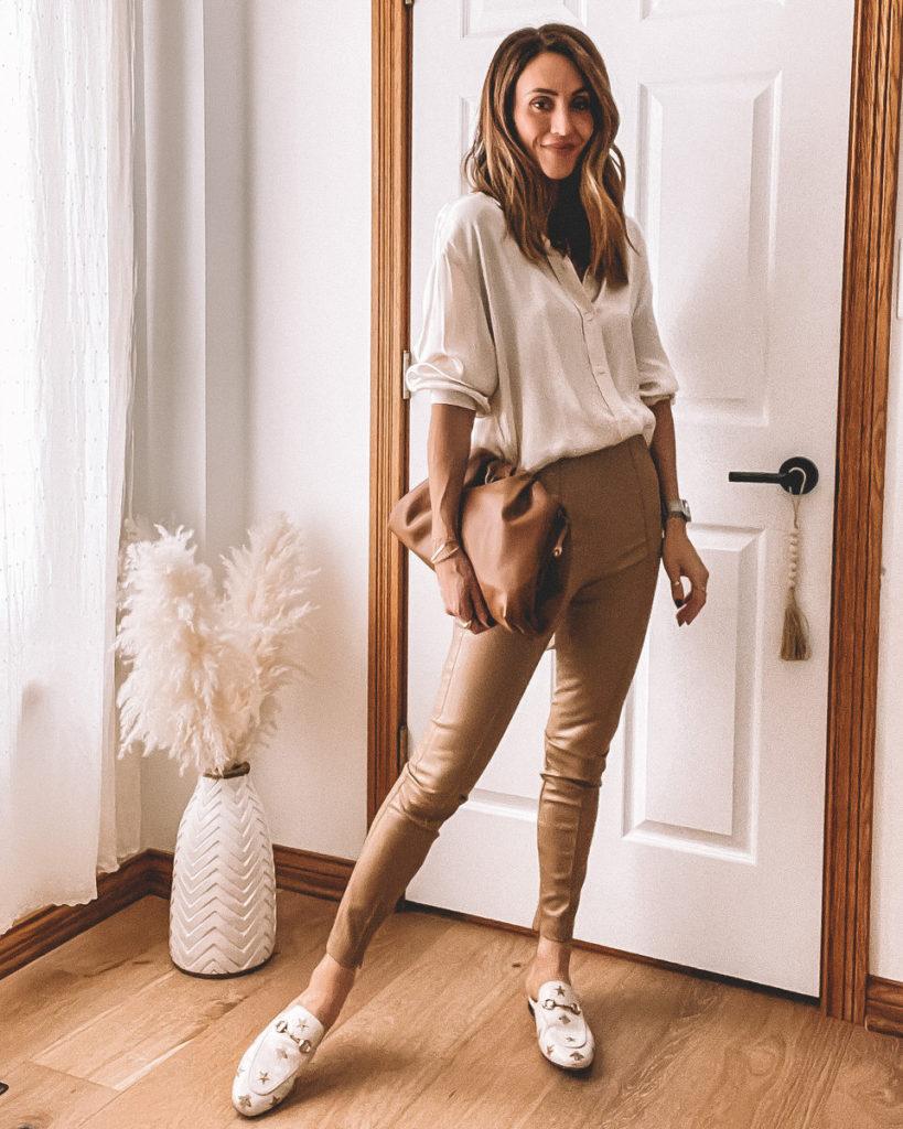 Faux leather legging legging Zara, oversized satin shirt, Gucci princetown loafers