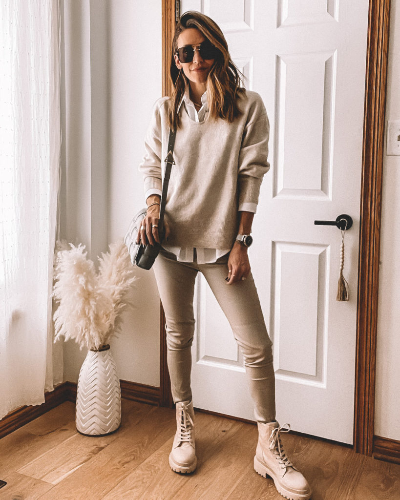 Neutral Outfit, Zara Haul, Cream sweater, white shirt, faux leather legging, cream combart boots outfit